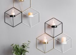 3D Geometric Candlestick Nordic Style Metal Iron Wall Hanging Candle