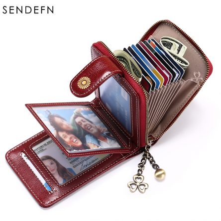 Genuine Leather Wallet Trifold Female Hasp Cards Holder