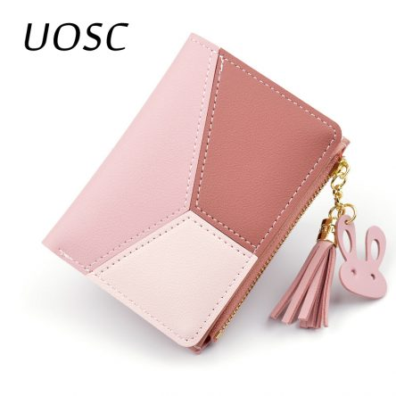 UOSC Geometric Women Cute Pink Wallets Pocket Purse Card Holder Patchwork Wallet