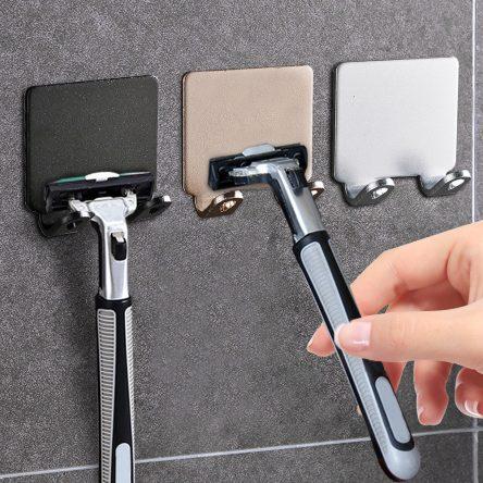 1/2/3PCS Punch Free Shaving Razor Holder Men Shaving Shaver Storage Hook Wall Shelf Bathroom Razor Rack Wall Kitchen Accessories