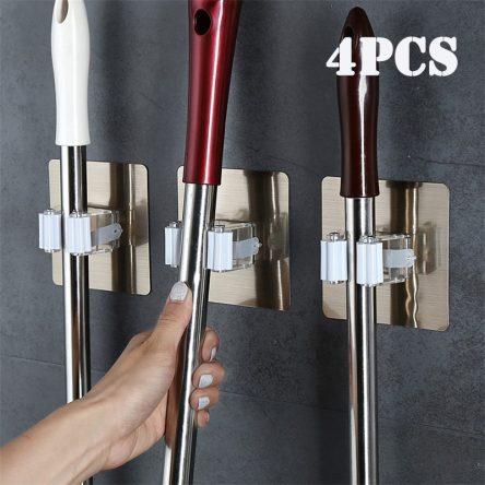 2/4pcs Adhesive Multi-Purpose Hooks Wall Mounted Mop Organizer