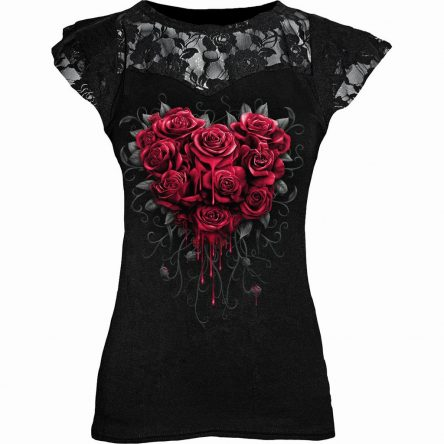 Gothic Punk Black Graphic Lace Rose T-shirts