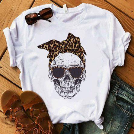 Women's T-shirt Skull Deer Camouflage Burlap Turban